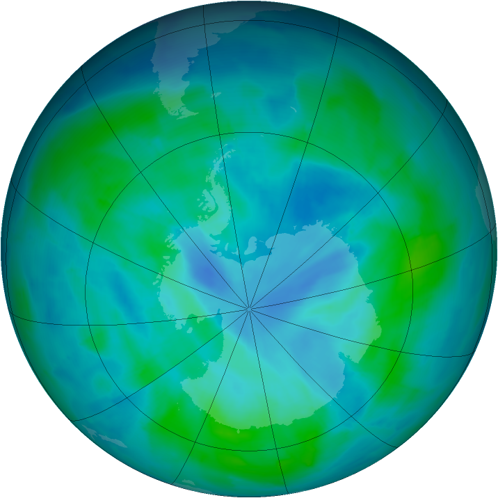 Antarctic ozone map for 10 March 2015
