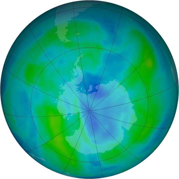 Antarctic ozone map for 14 March 2015