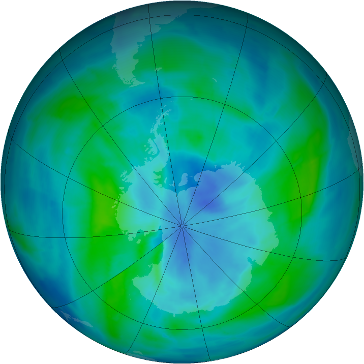Antarctic ozone map for 15 March 2015