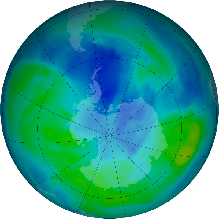 Antarctic ozone map for 23 March 2015