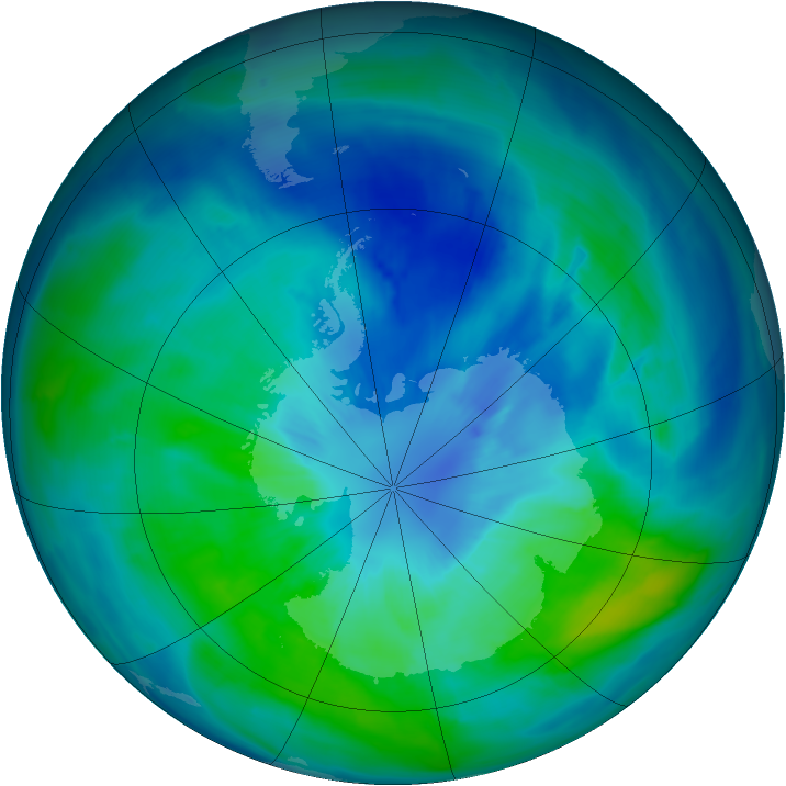 Antarctic ozone map for 24 March 2015