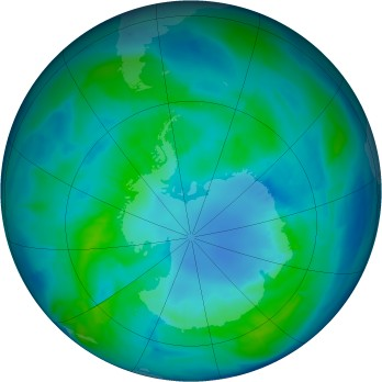 Antarctic ozone map for 2015-04-13