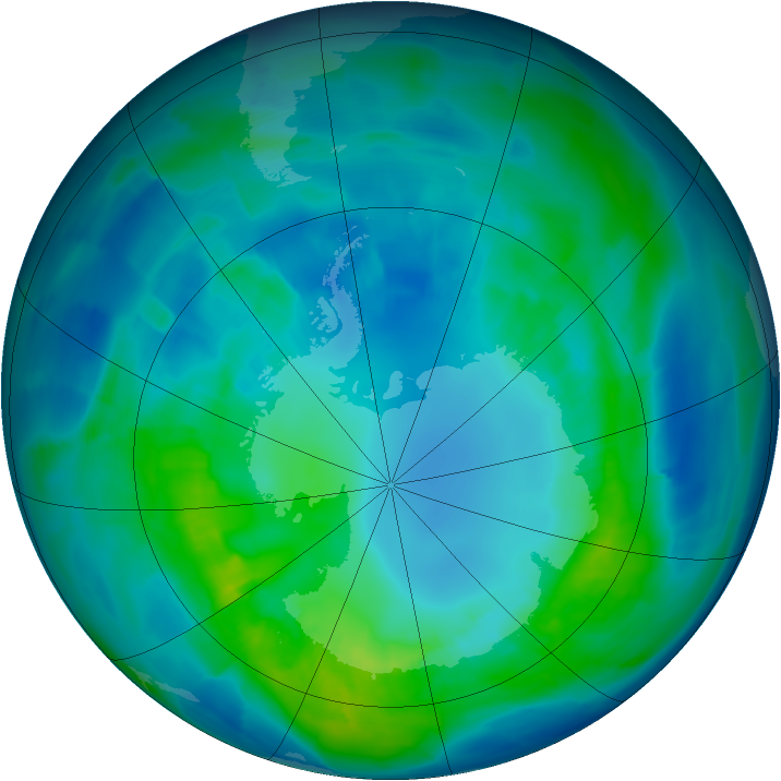 Antarctic ozone map for 18 April 2015