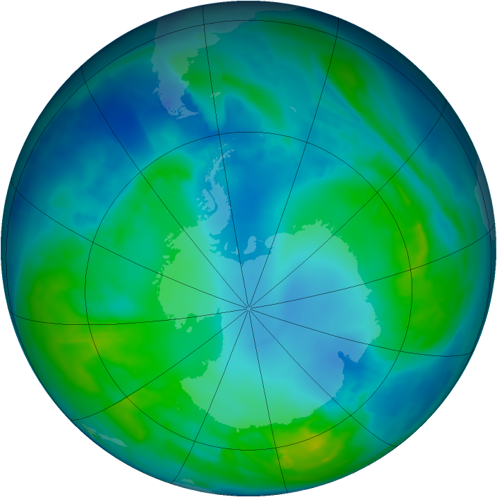 Antarctic ozone map for 02 May 2015