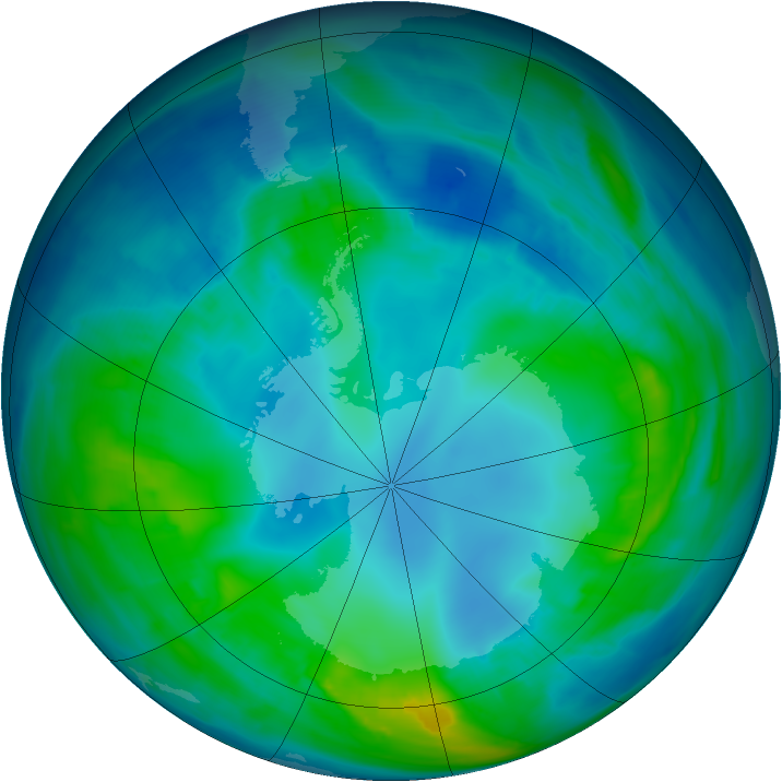 Antarctic ozone map for 03 May 2015