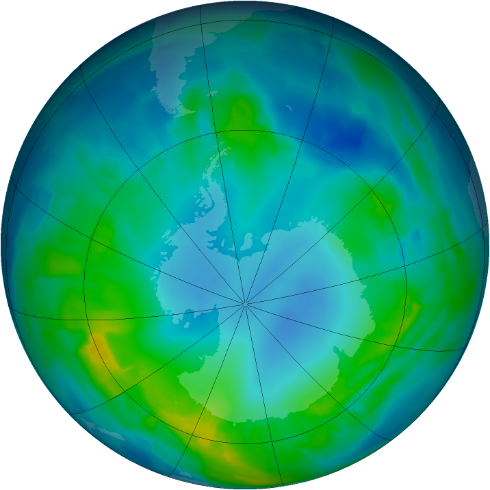 Antarctic ozone map for 04 May 2015