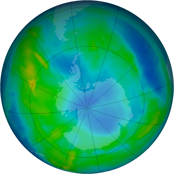 Antarctic ozone map for 07 May 2015