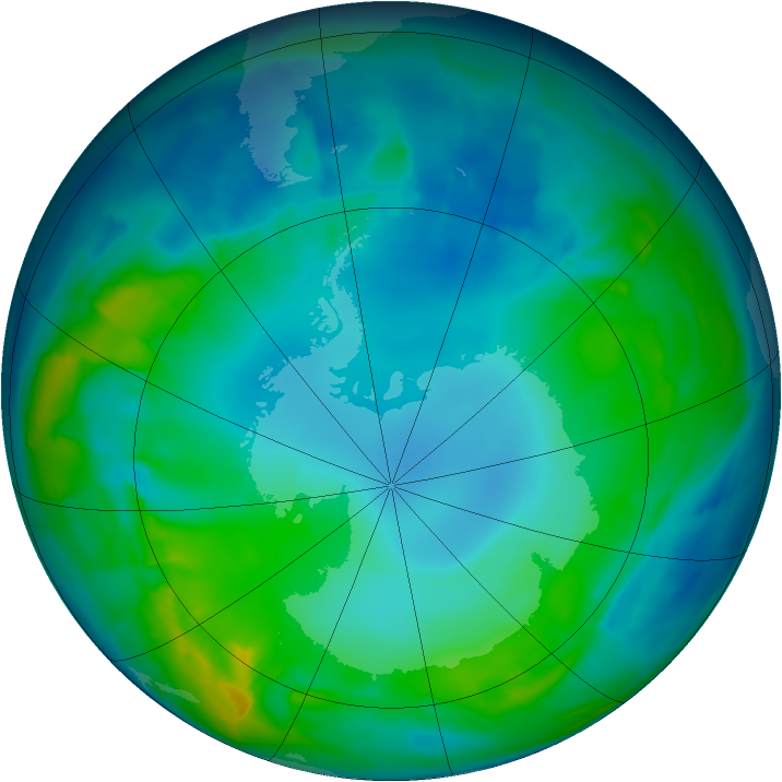 Antarctic ozone map for 14 May 2015