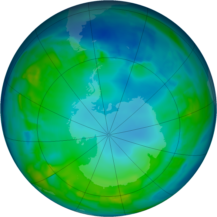 Antarctic ozone map for 16 May 2015