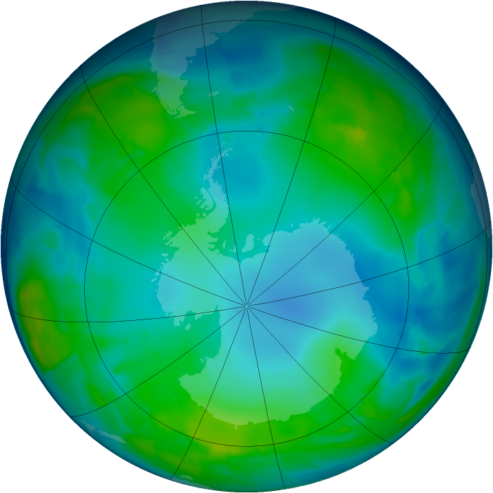 Antarctic ozone map for 20 May 2015