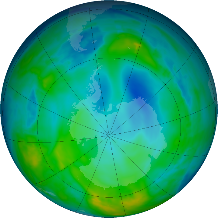 Antarctic ozone map for 26 May 2015