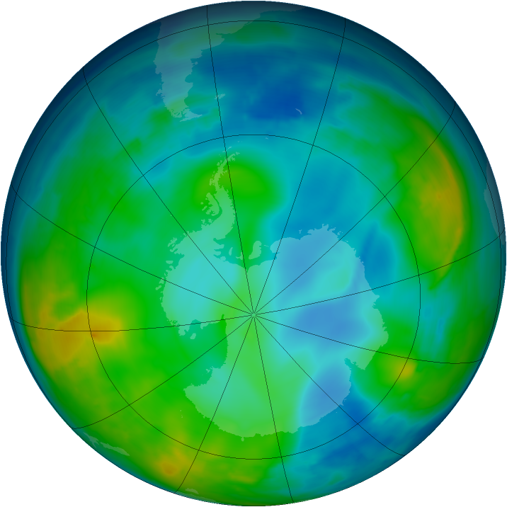 Antarctic ozone map for 29 May 2015