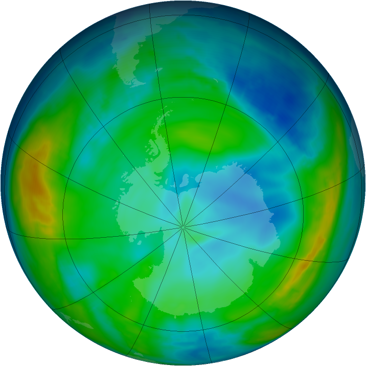 Antarctic ozone map for 31 May 2015