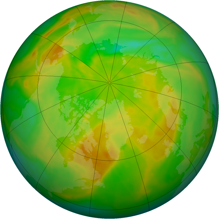 Arctic ozone map for 07 June 2015