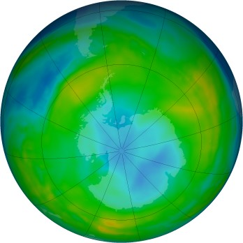 Antarctic ozone map for 2015-06-27