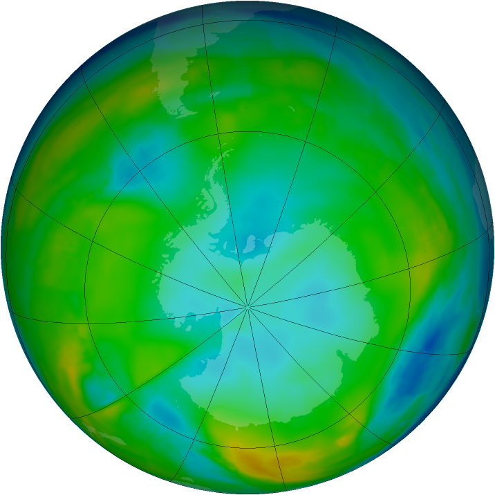 Antarctic ozone map for 08 July 2015