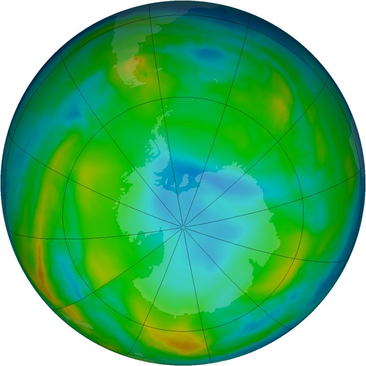 Antarctic ozone map for 13 July 2015