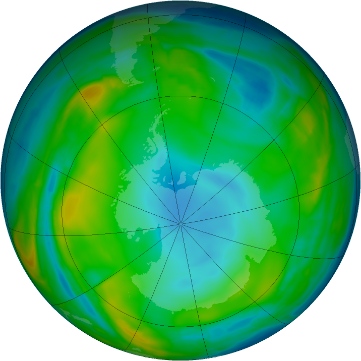 Antarctic ozone map for 14 July 2015