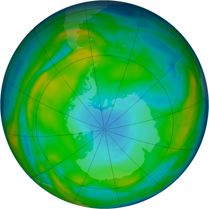 Antarctic ozone map for 15 July 2015