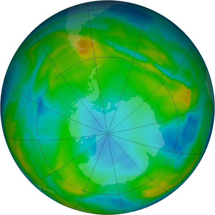 Antarctic ozone map for 17 July 2015