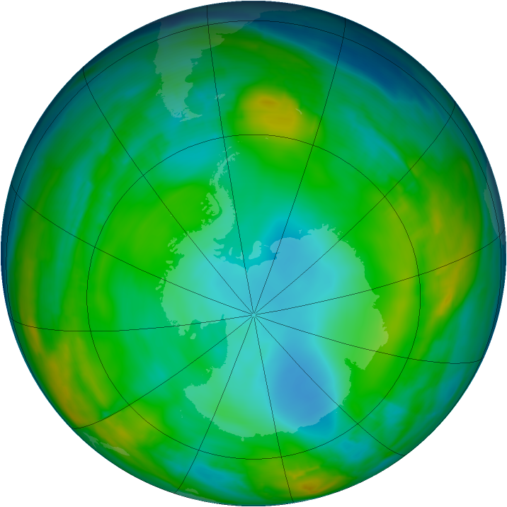 Antarctic ozone map for 20 July 2015