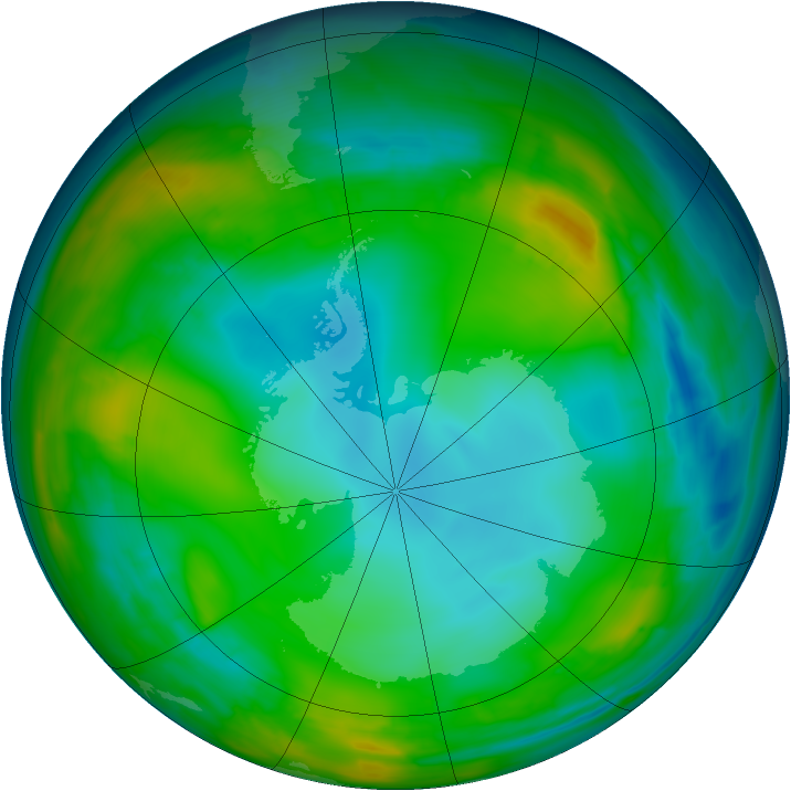 Antarctic ozone map for 25 July 2015