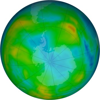 Antarctic ozone map for 2015-07-25