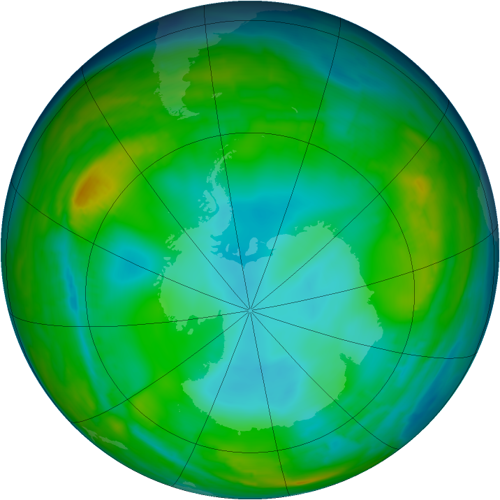 Antarctic ozone map for 29 July 2015