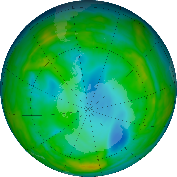 Antarctic ozone map for 01 August 2015