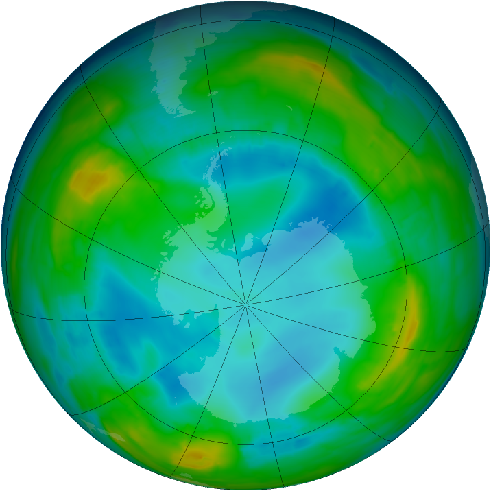 Antarctic ozone map for 04 August 2015