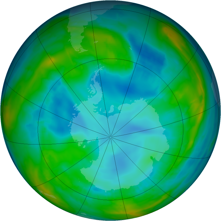 Antarctic ozone map for 08 August 2015