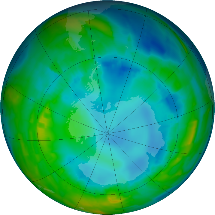 Antarctic ozone map for 11 August 2015