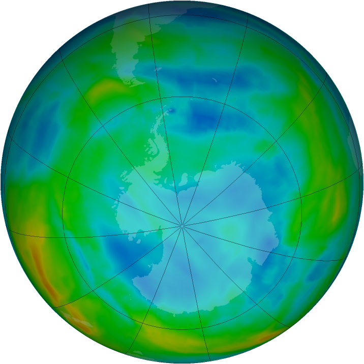 Antarctic ozone map for 14 August 2015