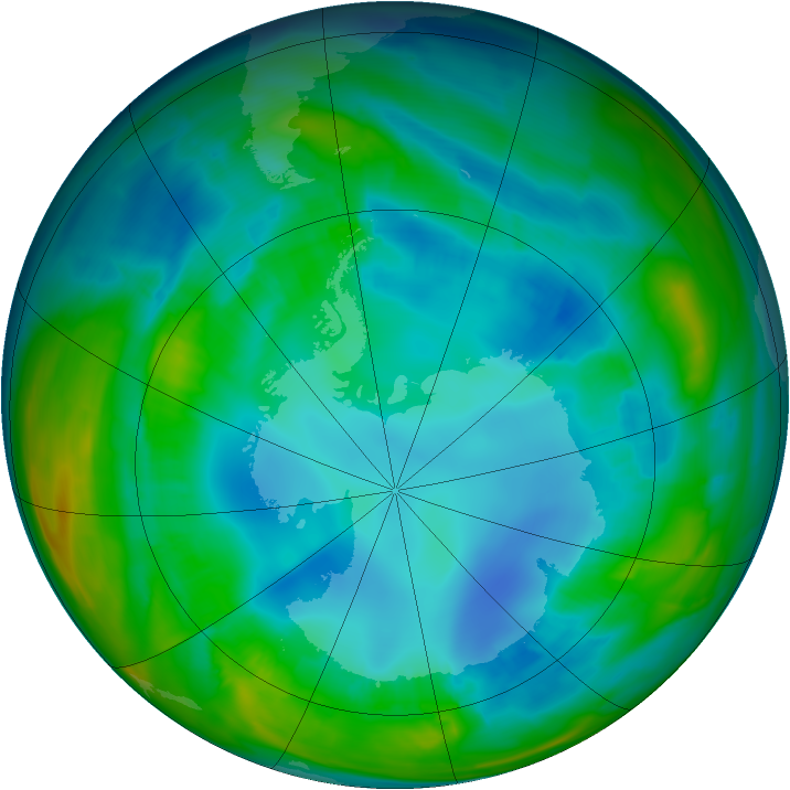 Antarctic ozone map for 15 August 2015