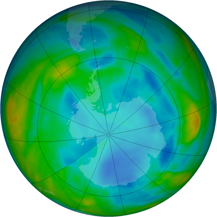 Antarctic ozone map for 16 August 2015