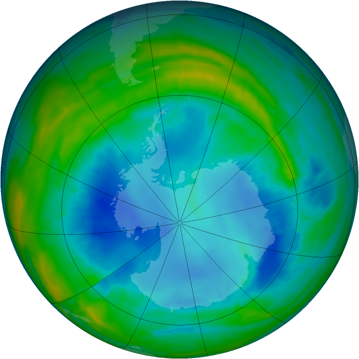 Antarctic ozone map for 19 August 2015