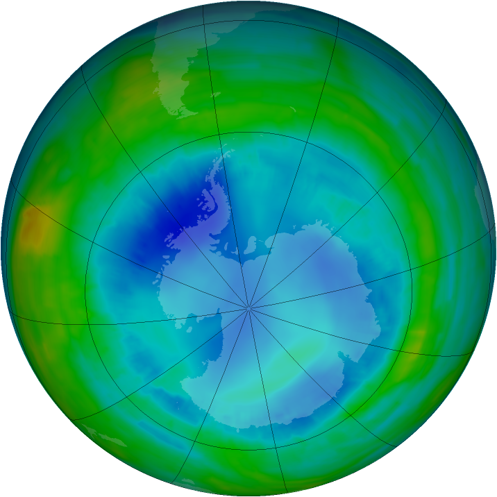 Antarctic ozone map for 21 August 2015