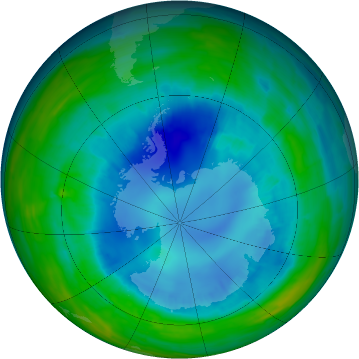 Antarctic ozone map for 24 August 2015