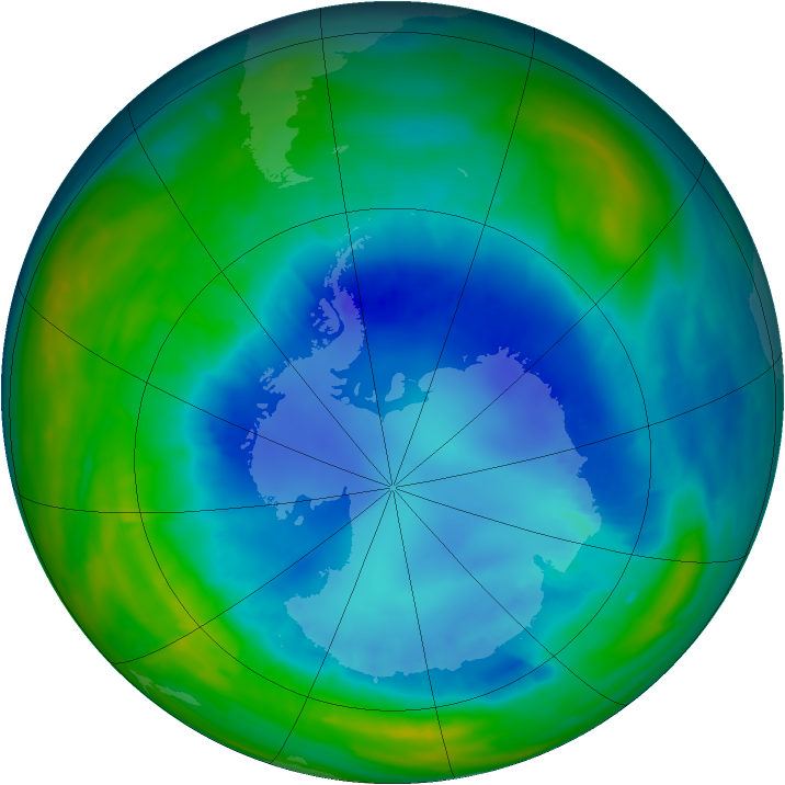 Antarctic ozone map for 26 August 2015