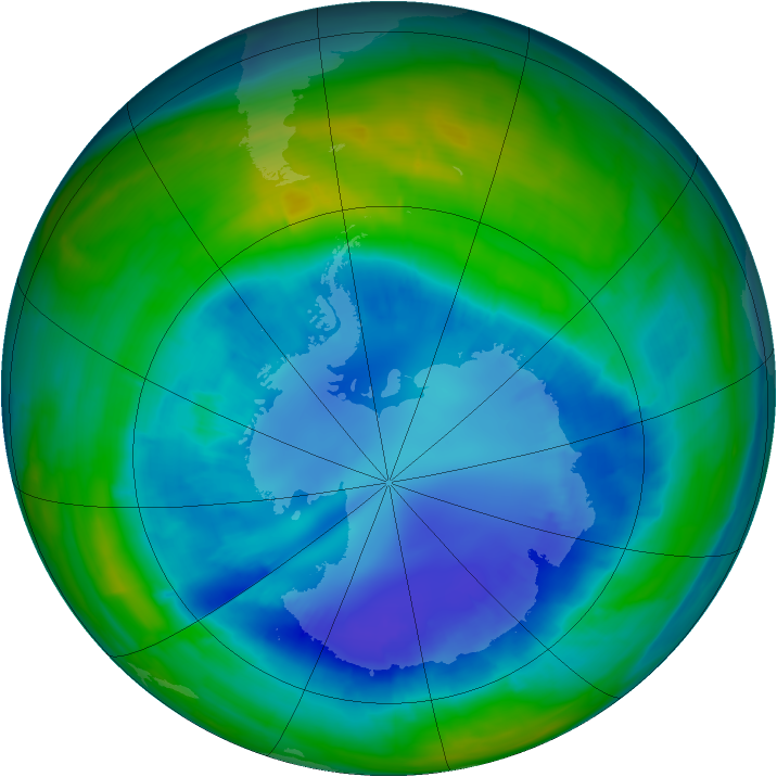 Antarctic ozone map for 30 August 2015