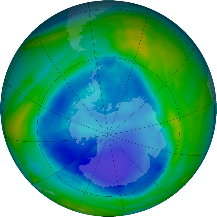 Antarctic ozone map for 01 September 2015
