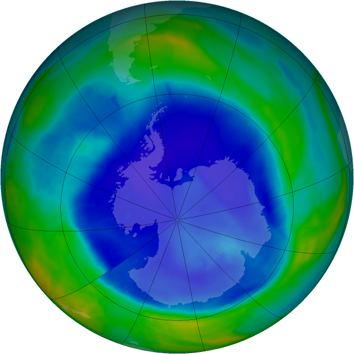 Antarctic ozone map for 11 September 2015