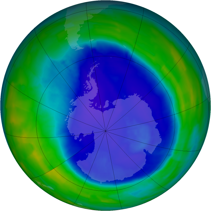 Antarctic ozone map for 16 September 2015