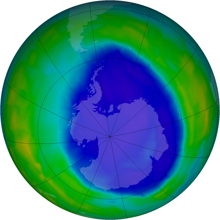 Antarctic ozone map for 17 September 2015