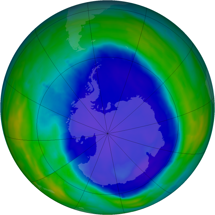 Antarctic ozone map for 18 September 2015