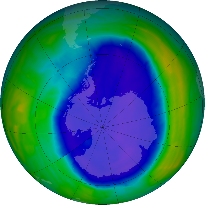 Antarctic ozone map for 21 September 2015