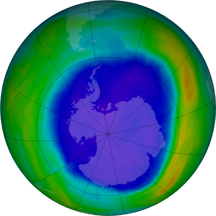 Antarctic ozone map for 23 September 2015