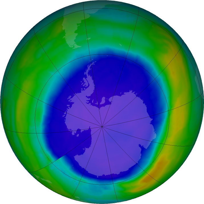 Antarctic ozone map for 24 September 2015