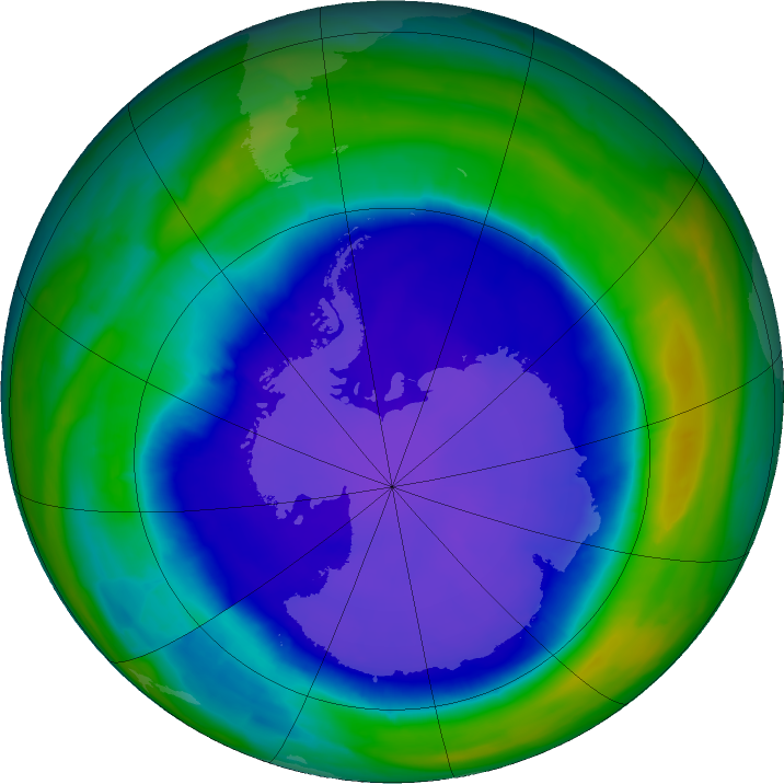 Antarctic ozone map for 26 September 2015