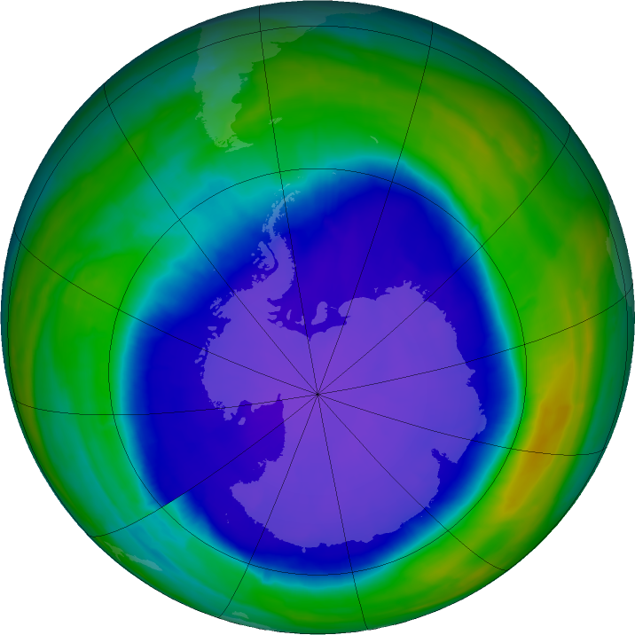 Antarctic ozone map for 27 September 2015